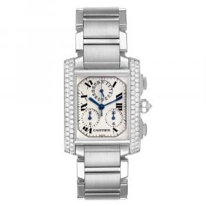 Cartier White Diamonds 18K White Gold Tank Francaise Chrongraph 2367 Men's Wristwatch 36 x 28 MM