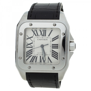 Cartier White Stainless Steel Alligator Leather Santos 100 W20073X8 Men's Wristwatch 38 mm