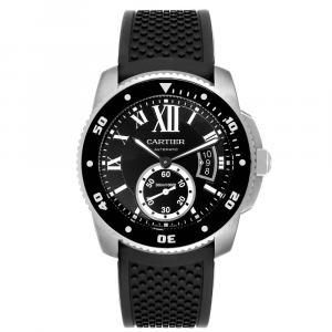 Cartier Black Stainless Steel Calibre Divers W7100056 Men's Wristwatch 42 MM