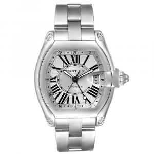 Cartier Silver Stainless Steel Roadster GMT W62032X6 Men's Wristwatch  48 x 43 MM