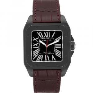 Cartier Black ADLC Carbon Coated Steel Santos 100 WSSA0006 Men's Wristwatch 51 x 41 MM