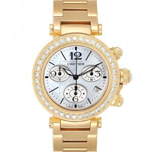 Cartier MOP Diamonds 18K Yellow Gold Pasha Seatimer Chronograph WJ130007 Men's Wristwatch 37 MM