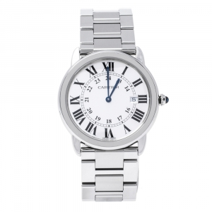 Cartier Silver Stainless Steel Ronde Solo 3603 Men's Wristwatch 36 mm