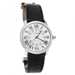 Cartier Silver Stainless Steel Alligator Leather Ronde Solo de Cartier W6701010 Men's Wristwatch 42 mm