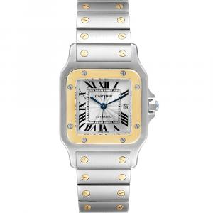 Cartier Silver 18K Yellow Gold And Stainless Steel Santos Galbee W20058C4 Men's Wristwatch 29 MM