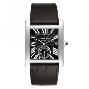 Cartier Black Stainless Steel Tank MC Automatic W5330004 Men's Wristwatch 34 MM