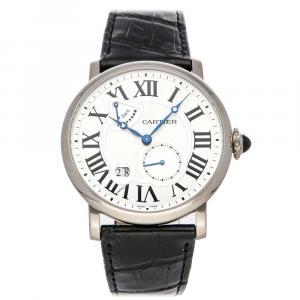 Cartier Silver 18K White Gold Rotonde De Cartier W1556202 Men's Wristwatch 42 MM