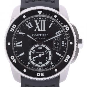 Cartier Black Stainless Steel Caliber de Cartier Diver W7100056 Men's Wristwatch 42 MM