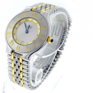 Must de Cartier 21 1330 Silver Dial Two Tone Steel Quartz Unisex Watch 31 MM