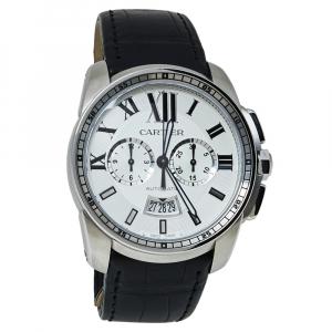 """ساعة يد رجالية كارتييه """"كاليبري دو كارتييه 3578 أوتوماتيك"""" ستانلس ستيل فضية 42 مم"""