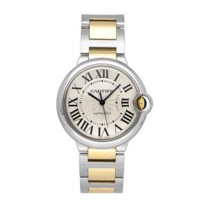 Cartier Silver 18k Yellow Gold And Stainless Steel Ballon Bleu W6920047 Men's Wristwatch 36 MM