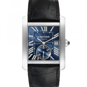 Cartier Blue Stainless Steel Tank MC Automatic WSTA0010 Men's Wristwatch 34 x 44 MM