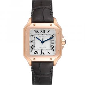 Cartier Silver 18K Rose Gold Santos WGSA0012 Men's Wristwatch 35 MM