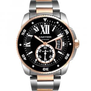 Cartier Black Rose Gold And Stainless Steel Calibre Diver W7100054 Men's Wristwatch 42 MM