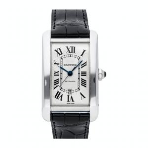 Cartier Silver 18K White Gold Tank Americaine W2609956 Men's Wristwatch 52 x 31 MM