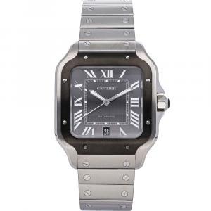 Cartier Grey Stainless Steel Santos De Cartier WSSA0037 Men's Wristwatch 39 MM