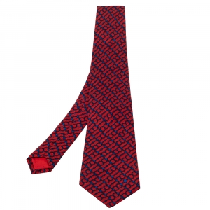 Celine Red & Navy Blue Chain Printed Silk Classic Tie