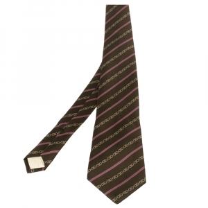 Celine Brown Equestrian Print Silk Tie