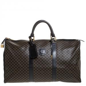 Celine Black/Dark Brown Macadam Canvas and Leather Weekender Bag
