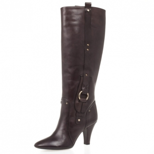 Celine Brown Leather Knee Length Boots Size 40