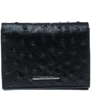 Cerruti 1881 Black Ostrich Embossed Leather Mayfair Card Case