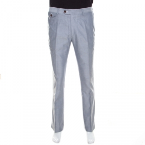 CH Carolina Herrera Grey Cotton Jacquard Tailored Trousers L