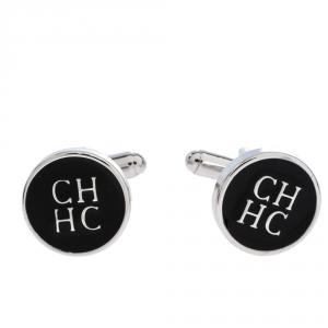 CH Carolina Herrera Logo Black Enamel Silver Tone Cufflinks