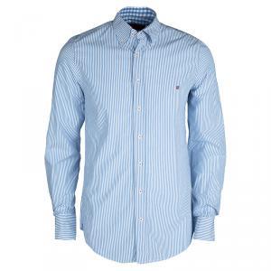 CH Carolina Herrera Blue and White Striped Long Sleeve Button Down Shirt M