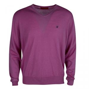 CH Carolina Herrera Purple Merino Wool V-Neck Sweater XL