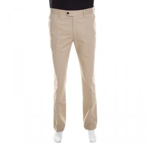 CH Carolina Herrera Beige Cotton Twill Tailored Trousers L