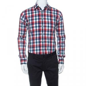 CH Carolina Herrera Multicolor Check Cotton Button Down Collar Shirt M