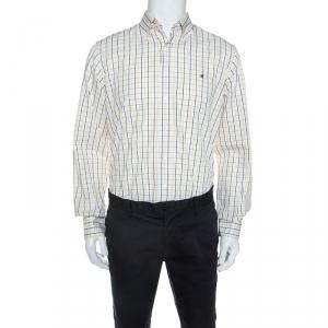 CH Carolina Herrera White Navy and Yellow Checked Cotton Shirt L