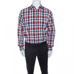 CH Carolina Herrera Multicolor Gingham Check Cotton Button Down Shirt L