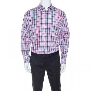 CH Carolina Herrera Multicolor Checked Cotton Button Down Collar Shirt L
