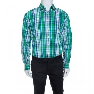 CH Carolina Herrera Green and Blue Cotton Madras Check Shirt L