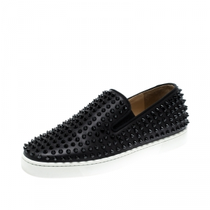 Christian Louboutin Black Leather Roller Boat Spiked Slip On Sneakers Size 41.5