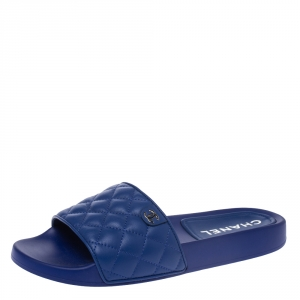 Chanel Blue Quilted Leather CC Slides Size 42