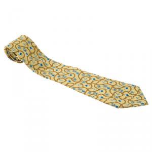 Chanel Yellow Anchor & Chain Printed Silk Tie