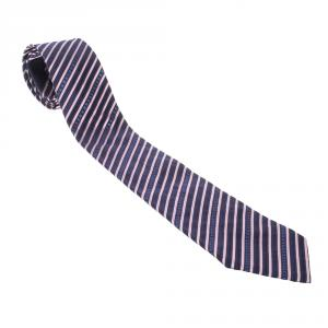 Chanel Navy Blue and Pink Striped CC Logo Silk Tie