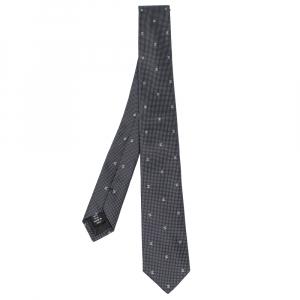 Chanel Navy Blue Micro Dot Logo Pattern Skinny Silk Tie