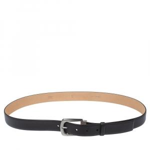 Chanel Black Leather Classic Belt 95CM