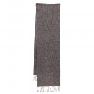 Chanel Grey Lurex Cashmere Knit Fringed Muffler