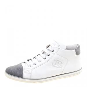 Chanel White Leather and Grey Suede Cap Toe CC  Sneakers Size 41