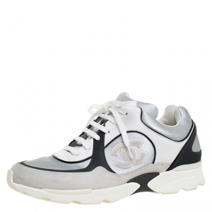 Chanel Silver/Black Leather and Fabric CC Lace Up Sneakers Size 41