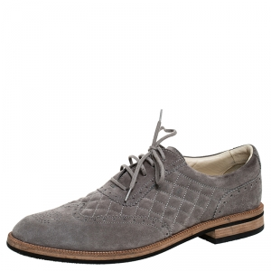 Chanel Grey Suede Quilted Brogue Oxfords Size 43