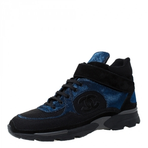 Chanel Black/Blue Mesh/Fabric and Suede CC High Top Sneakers Size 42