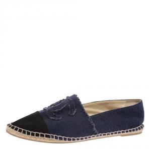 Chanel Blue/Black Denim CC Espadrille Flats Size 44