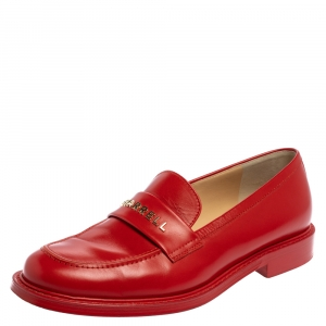 Chanel Pharrell Red Leather Slip On Loafers Size 43