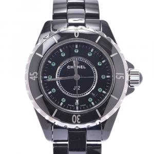 Chanel Black Emerald Ceramic And Stainless Steel J12 H2130 Quartz Men's Wristwatch 38 MM