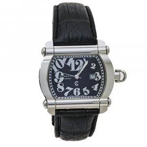 Charriol Black Stainless Steel & Leather Actor CCHTXL Men's Wristwatch 42 mm